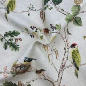 Sanderson Woodland Chorus Linen / Multi Curtain Fabric, Material 139cm width