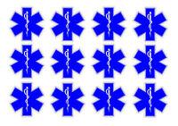 "Star of Life EMT Sticker Decal Pack Lot Blue 2"" First Aid Kit Medical Star #3DE"