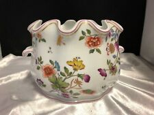 GINORI ITALY PORCELAIN JARDINIERE WITH COLORFUL FLOWERS