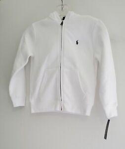 Polo Ralph Lauren Little Boys Fleece Full Zip Hoodie White Sz 4/4T - NWT