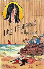 POSTCARD  COMIC   Little  footprints  in  the  sand
