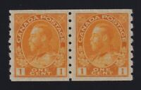 Canada Sc #126 (1923) 1c orange-yellow Admiral COIL PAIR Die II Mint VF NH