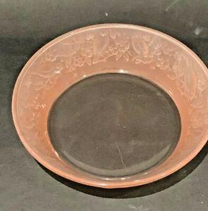 "Vintage Pretty Pink Depression Glass Bowl Birds & Flowers 6.25"""