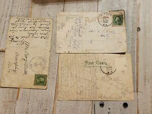 3 VINTAGE 1900S Postmarked 1 Cent Stamp On Vintage PostcardS NC CHURCH TRAIN