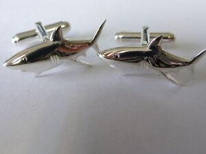 sterling silver shark swivel cufflinks uk made