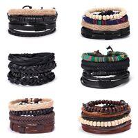 4pcs Fashion Men Ethnic Leather Braid Tribal Wrap Bracelet Cuff Wristband Bangle