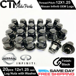 20PC BLACK NISSA INFINITI 12x1.25 OEM FACTORY STYLE REPLACEMENT MAG LUG NUTS