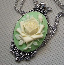Soft YELLOW ROSE Cameo SILVER PENDANT NECKLACE Vintage Design CHRISTMAS GIFT