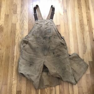 1990s VTG Carhartt Double Knee USA Made Tan Canvas Unlined Overalls Size 46x30