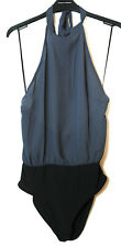 GREY BLACK LADIES CASUAL TOP BODY SIZE 10 OPEN BACK HALTER NECK