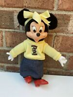 Vintage Disney Minnie Mouse 8' Applause  Plush Doll Rubber Face Hands rare shirt
