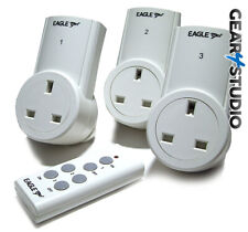 3-Way Remote Control Socket Wireless Switch Mains UK Plug AC Power Outlet