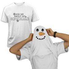 ASK ME ABOUT MY SNOWMAN T-Shirt Flip Over Snowman Face Xmas Present Gift Idea