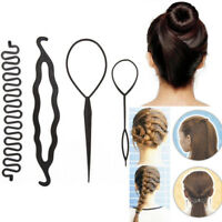 4Pcs Hair French Braid Topsy Tail Clip Magic Styling Stick Bun Maker Tool Cxz