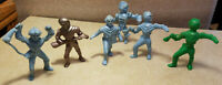 "Vintage Set 6 Ajax Archer Space Figure Spaceman Marx Plastic 1950s 3.75"" Tall"