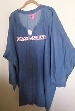 New Woman Within Plus Size 5X Chambray Tunic Top Button Down Denim Shirt Long S.