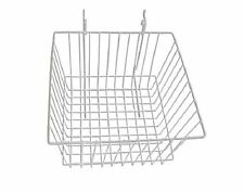 """New Pack Of 2 Slatwall Or Grid Basket 12""""x12""""x8"""" White"""