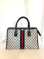 Gucci Vintage GG Supreme East West Tote Bag Navy Blue #2