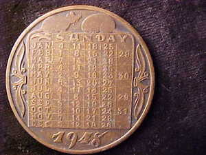 CHINA COPPER CALENDAR MEDAL 1948 YEAR OF THE RAT 39.8 mm