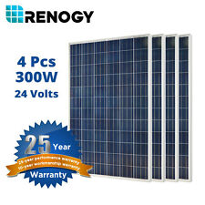 Renogy 4 Pcs 300W Watts 24V Polycrystalline 1200W Solar Panel Off/On Grid
