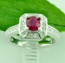 14k Solid White Gold Natural Diamond & Oval Shape Ruby Ring 1.20 ct