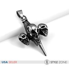 Men's Stainless Steel Gothic Hip hop Skull Head Maken Cross Pendant Punk NEW P39