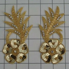SEQUIN BEADED RHINESTONE FLOWER PAIR APPLIQUES 2468-O