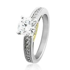 1.35 Cts Cz Engagement Ring Solid 925 Sterling Silver w/ Rose Gold Plated Band