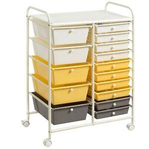 15-Drawer Storage Rolling Organizer Cart-Yellow - Color: Yellow