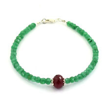 Ruby and Emerald Gemstone Sterling Silver Bracelet- 30 Cts Translucent Beads