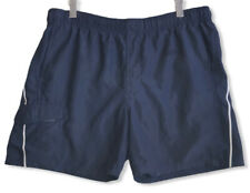 Vtg Nike Gray Tag Men's Navy Cargo Pocket Swim Trunks Rear Swoosh Size Medium