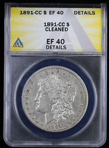 1891 CC $1 Morgan Silver Dollar ANACS EF 40 Details | XF Detail