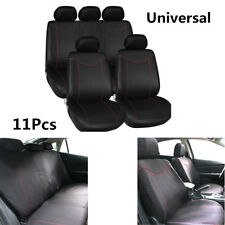 11 Pcs High Quality Car Full Set Seat Covers Low Front Back Set Black +Red Edge