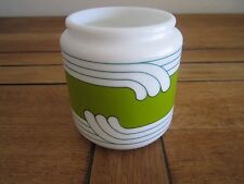 "Egizia Milk Glass Jar 4"" Container Art-Deco Design Made in Italy"