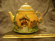 RARE Enesco Teapot Bungelow Whiskerflick Mice Multi-Action/Lites Music Box