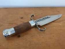 Vtg J Jim Bowie Stainless Steel Fixed Blade Wooden Handle Fighting Hunting Knife
