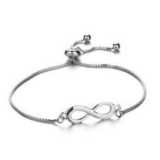 Adjustable Silver Infinity Ladies Women Friendship Bridesmaid Wedding Bracelet