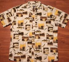 Woolrich Bass All over Print Camping Fishing Casual Button Front Shirt men's Xl