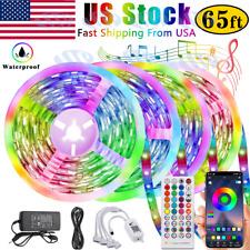 65.6 ft RGB 5050 Bluetooth Led Strip Lights SMD 44 Key Remote 12V DC Power Kits