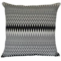 "Diamond Black Grey Cushion Covers ZigZag Geometric Aztec 60cm 24"" Cotton"