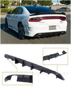 For 15-Up Dodge Charger | SRT Factory Style Rear Bumper Dual Exhaust Diffuser