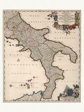 Old Antique Decorative Map of Naples Bari Lecce Cosenza Italy de Wit ca. 1682
