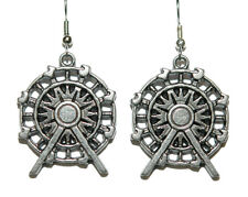 PEWTER FERRIS WHEEL DANGLE EARRINGS (D103)