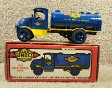 New 1991 ERTL 1/38 Scale Diecast Motor Fuel #1 1926 Mack Tanker Blue Sunoco Bank