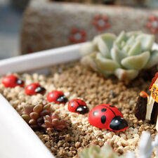 50Pcs Wood Ornaments Red Beetle Miniature Ladybug Fairy Doll House Garden Decor