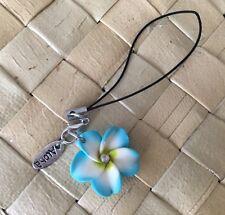 Hawaiian Plumeria Fimo Clay Cell Mobile Phone Strap Charm BLUE Hawaii NEW