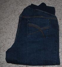 Duo Maternity Capri Jeans Large Dark Blue Denim Pocket Design Full Tummy Panel