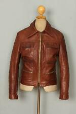 Vtg 1960s Brown Leather Sports Motorcycle Jacket Size XSmall
