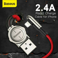 Baseus 2.4A USB Charger Cable 90 Degree Lead For iPhone XS XR 8 7 6s 5 SE iPad