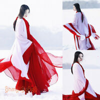 Women's Dress Hanfu Clothing Ancient Costume Han Chinese Dance Cosplay Red White